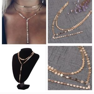Jewelry - Multiple layers sheet chain with crystal necklace.